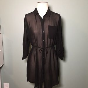 Petticoat Alley Sheer Black Button Down Dress